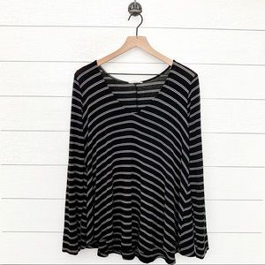 Lush black and white striped long sleeve top